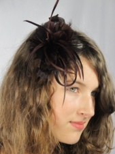 Chocolate Brown Feather Flower Fascinator