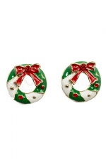 Christmas Wreath Stud Fashion Earrings with Gift Box