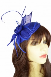 Cobalt Blue Sinamay Hat & Petal Flower Fascinator
