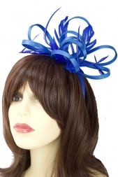 Cobalt Blue Satin Ribbon & Feather Hairband Fascinator