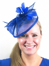 Cobalt Blue Sinamay Hairband Hat Fascinator
