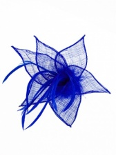 Cobalt Blue Sinamay & Feather Clip Fascinator