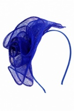 Cobalt Blue Sinamay Flower Design Hairband Fascinator