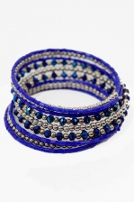 Bright Blue Wraparound Beaded Bracelet