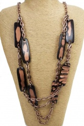 Bronze Double Layered Long Fashion Necklace