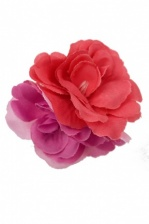 Coral & Pink Double Hair Flower Clip