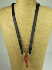 Coral and Black Ribbon Fashion Necklace