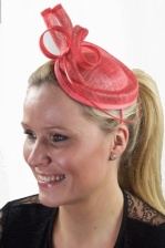 Coral Sinamay Hat Fascinator with Aliceband