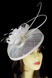 White & Ivory Hat Fascinator with Quills