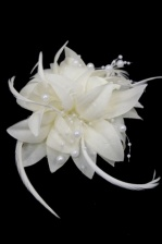 Cream Flower & Pearl Bead Clip Fascinator