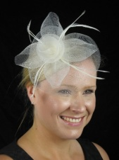 Cream/Ivory Crin Flower and Feather Clip Fascinator