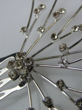 Crystal and Silver Floral Spray Bridal Comb