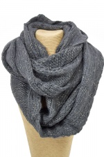 Dark Grey Lurex Knitted Chunky Snood