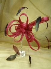 Dark Red Mesh Ribbon Bow and Feather Comb Fascinator