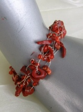 Delicate Red Coral Chip Bracelet