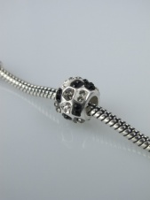 Black Tone Crystal Glass and 925 Sterling Silver Charm Bead