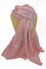 Dusky Pink Pretty Embroidered Scarf