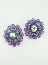 Large Purple Glass Bead Clip Earrings