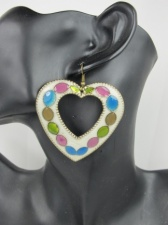 Large Multicoloured Heart Earrings