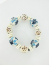 Elasticated Cream and Blue Flower Ceramic Bead Bracelet