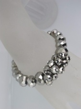 Elasticated Silver Faceted Bead Fashion Bracelet