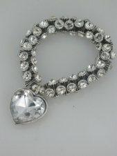 Elasticated Sparkling Crystal Stone Fashion Bracelet with Sparkling Heart