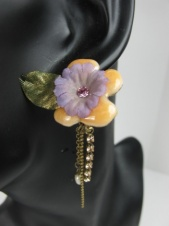 Enamelled Orange Flower and Purple Pretty Fashion Clip Earrings