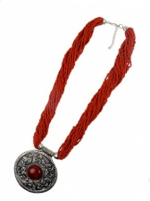 Large Ethnic Style Red/Orange Necklace