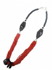 Red & Brown Bone & Bead Ethnic Necklace