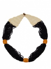Black & Amber Multi Strand Ethnic Necklace