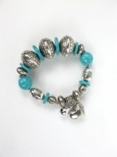 Ethnic Silver and Turquoise Stone Elasticated Bracelet