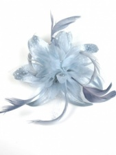 Grey Flower and Feather Comb Fascinator