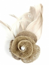 Latte Sinamay Flower Fascinators with Clip and Feathers