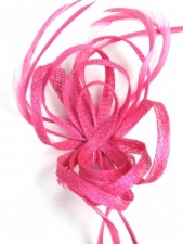 Pink Sinamay Loop and Feather Clip Fascinator
