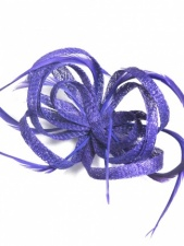 Purple Sinamay Loop and Feather Clip Fascinator