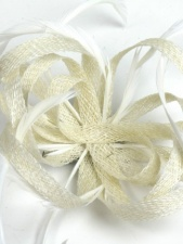 Ivory Sinamay and Feather Clip Fascinator