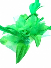 Bright Green Flower and Feather Clip Fascinator with Brooch Pin