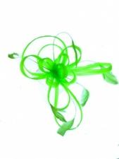 Neon Green Looped Comb Fascinator with Feathers