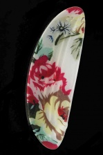 Cream & Floral Print Hair Barrette