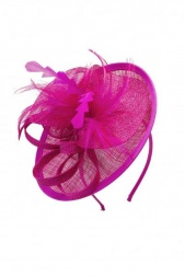 Small Fuchsia Pink Small Saucer Hat with Hairband & Clip