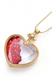 Gold Necklace with Glass Heart Pendant & Red Crystal