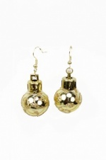 Christmas Gold Bauble Dangle Novelty Earrings