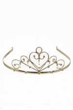 Gold Tiara with Pearl Droplets