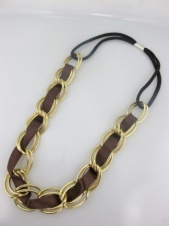 Gold Chain Elasticated Hairband with Brown Ribbon