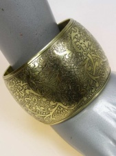 Gold Effect Wide Flower Detail Ethnic Style Bangle