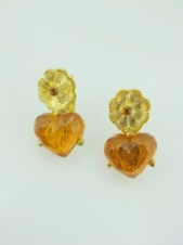 Gold Flower and Amber Heart Fashion Earrings