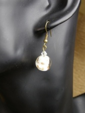 Gold Foil and White Glass Bead Fashion Earrings
