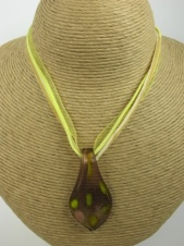 Gold, Green & Yellow Glazed Glass Fashion Pendant Necklace