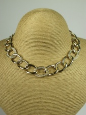 Gold Link Chain and Crystal Fashion Necklace