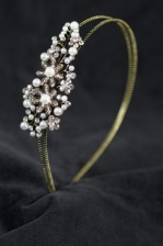 Double Gold Aliceband with Pearl & Crystal Side Detail